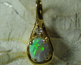 SOLID OPAL 925 SILVER GOLD PLATED PENDANT SGJP 41