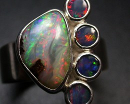 6.5 RING SIZE NATURAL BOULDER OPAL RING/DOUBLETS [SOJ2041]