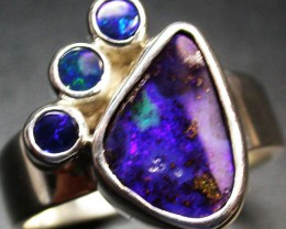 6.5 RING SIZE NATURAL BOULDER OPAL RING/DOUBLETS [SOJ2043]