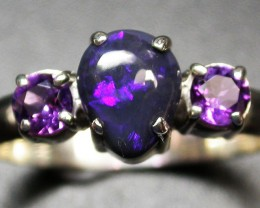 10 RING SIZE SOLID OPAL WITH AMETHYST FACTORY DIRECT SOJ2044