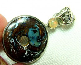 16.5  CTS  BOULDER OPAL  SILVER PENDANT OF-138