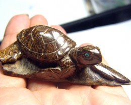 CYBERSALE BOULDER OPAL TURTLE CARVING 250 CTS LO-4602