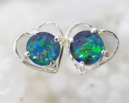 BRIGHT TRIPLET OPAL SILVER  EARRINGS  CK 1670
