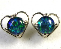 BRIGHT TRIPLET OPAL SILVER  EARRINGS  CK 1673