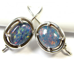BRIGHT TRIPLET OPAL SILVER SHEPPARD HOOK EARRINGS  CK 1688