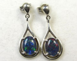 BRIGHT TRIPLET OPAL SILVER SWING BALE EARRINGS  CK 1695