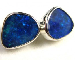 BLUE DOUBLET  OPAL SILVER  EARRINGS  CK 1696