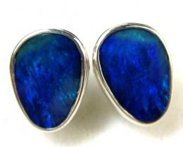 BLUE DOUBLET  OPAL SILVER  EARRINGS  CK 1698