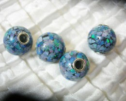 MOSAIC OPAL BEAD w/ SILVER GROMMET 10mm Round x4