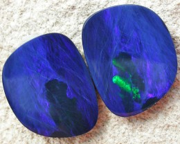 9.85 CTS  BLUE DOUBLET WITH NEON GREEN FLASH PAIR [MS5009]