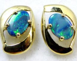 BLUE DOUBLET  OPAL EARRINGS G/P STERLING SILVER  CK1786