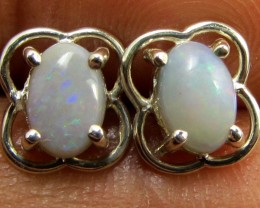 SOLID CRYSTAL   OPAL EARRINGS STERLING SILVER  CK1806