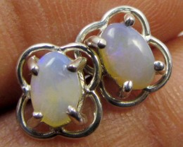 SOLID CRYSTAL   OPAL EARRINGS STERLING SILVER  CK1814