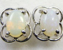 SOLID CRYSTAL   OPAL EARRINGS STERLING SILVER  CK1818
