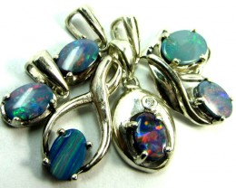 TRDAE DEAL SIX OPAL PENDANTS  STERLING SILVER  CK1824