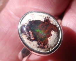 BOULDER OPAL SILVER RING SIZE 7.5