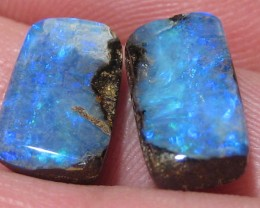 Pair of Blue Boulder opal. one is slightly larger than the other, but with in reason.