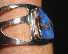 SOLID - .925 STERLING SILVER AND OPAL BRACELET.