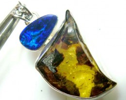 40 CTS OPAL DOUBLET -AMBER SILVER PENDANT   OF-141