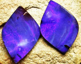 53.05 CTS PURPLE BOULDER OPAL PAIR  PL220