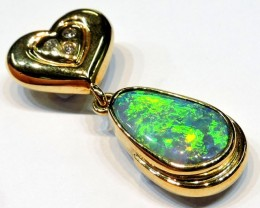 LUMINOUS RICH GREEN FIRE BLACK OPAL PENDANT 18K GOLD SCO762
