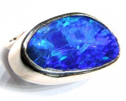 ELECTRIC BLUE DOUBLET OPAL PENDANT 18K WHITE GOLD SCO771