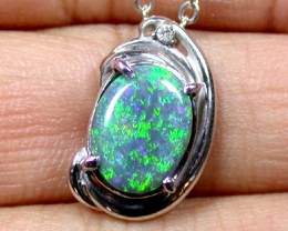 EXQUISITE BLACK OPAL PENDANT 18K PLATINUM WHITE GOLD SCO776
