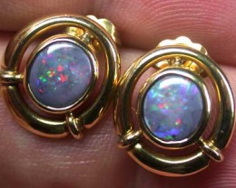RED FIRE BLACK OPAL PENDANT AND EARRING SET SCOC323