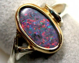 BLACK OPAL BEZEL BALE 18K WHITE GOLD RING SIZE 6 SCO712