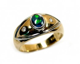 BLACK OPAL RING 18K GOLD WITH 2 DIAMONDS  SCO 807
