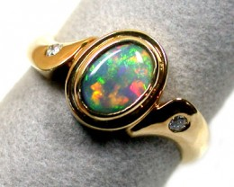 CRYSTAL BLACK OPAL RING 18K GOLD WITH 2 DIAMONDS SCO 818