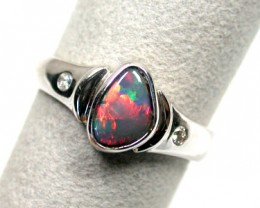 FIRE BLACK OPAL 18K WHITE GOLD RING SCO 838