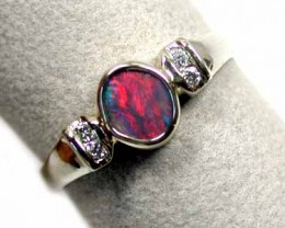 BLACK OPAL 18K WHITE GOLD RING WITH 4 DIAMONDS SCO 845