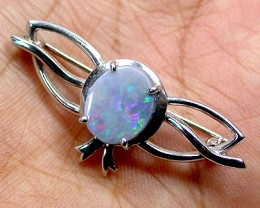 BEAUTIFUL FLASH BLACK OPAL 18K WHITE GOLD BROOCH SCO887
