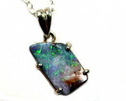 NATURAL FREEFORM BOULDER OPAL 18K WHITE GOLD PENDANT SCO888