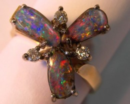*sale price* 18ct  HANDMADE RING with SOLID OPALS & DIAMONDS  p10-042cr