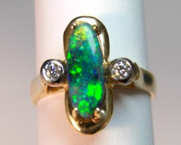 18ct HANDMADE RING with SOLID OPALS & DIAMONDS   p10-065cr