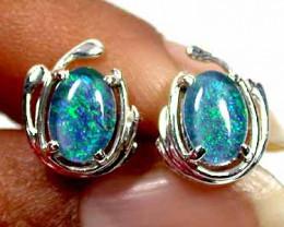 Triplet Opal Earring  Set In Silver ML 516