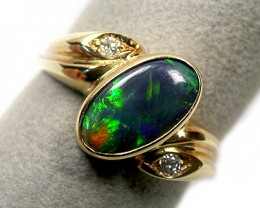 BRIGHT MULTI FIRE  BLACK OPAL 18K GOLD RING  SCO 925