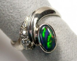 ROLLING FLASH BLACK OPAL 18K WHITE GOLD RING SIZE 6.5 SCO951