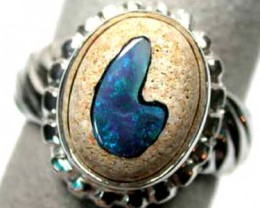 INLAY OPAL SILVER RING  SIZE 7  K343