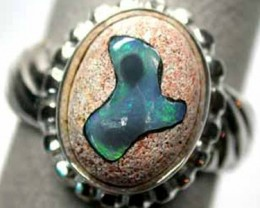 INLAY OPAL SILVER RING  SIZE  9 K345