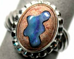 INLAY OPAL SILVER RING  SIZE 9  K347