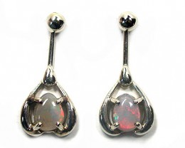 BLACK CRYSTAL OPAL 18K WHITE GOLD EARRING SCO958