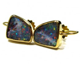 BOULDER OPAL 18K GOLD SCREW ON EARRING SCO963