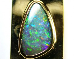 MULTI SUNSET FIRE BOULDER OPAL 18K GOLD PENDANT SCO972a