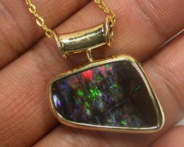 FREE SHIPPING OPALISED WOOD BOULDER OPAL 18K GOLD PENDANT SCO975