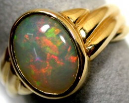 FIRE CRYSTAL OPAL 18K GOLD RING SIZE 7.5 SCO707