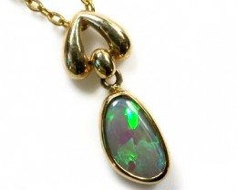GREEN FIRE INFERNO BLACK OPAL 18K GOLD PENDANT SCO1096