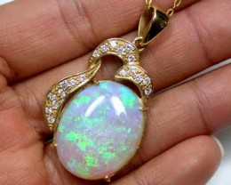 CRYSTAL OPAL GREEN FIRE FLASH WITH INCLUSIONS 18K GOLD PENDANT SCO1133